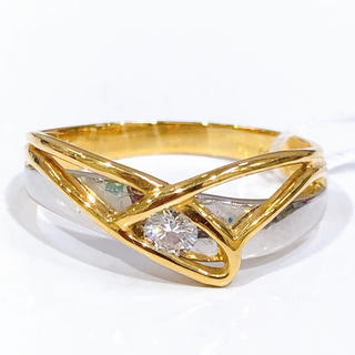 K18 PT900 ダイヤモンド コンビピング(リング(指輪))