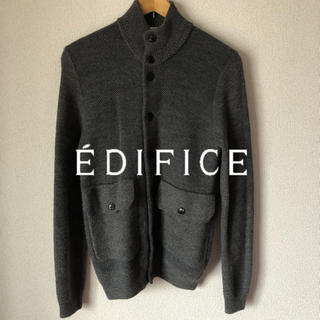 エディフィス(EDIFICE)のEDIFICE ウールカーディガン グレー  サイズ44 S (カーディガン)
