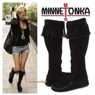 ミネトンカ(Minnetonka)のMinnetonka♡フロントレースニーハイブーツ♡ブラック6*23♡ミネトンカ(ブーツ)