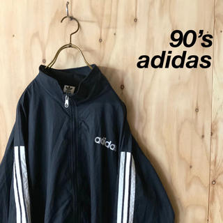 adidas - 【美品】90s adidas ロゴ刺繍 トラックトップ ビッグサイズ BK WH