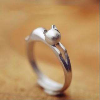 ネコ レディース リング 指輪 シンプル マット シルバー アクセサリー 猫(リング(指輪))