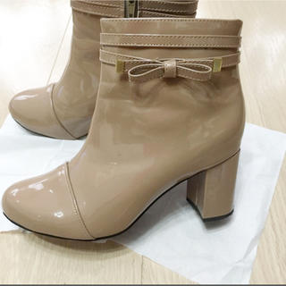 レインブーツ ショートブーツ 長靴 Mサイズ 23.5cm リボン ベージュ(レインブーツ/長靴)