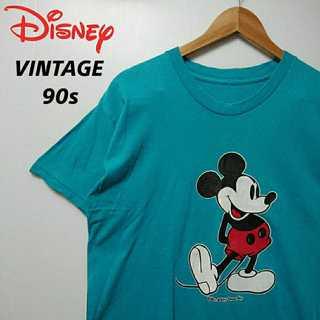 Disney - 542 90s ミッキー ビンテージ Tシャツ レアカラー ターコイズブルー