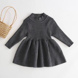 petit main - 韓国子供服 ニットワンピース グレー