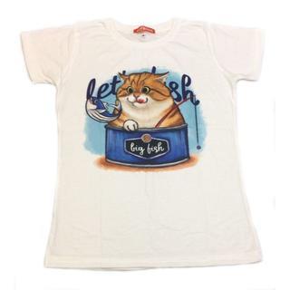 新品 可愛い Tシャツ 猫 缶詰ネコ 半袖 ホワイト S(Tシャツ(半袖/袖なし))