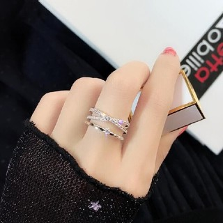 ☞金属アレ対応9号~20号♥ジルコニア※フリーサイズリング★指輪ホワイトゴ-ルド(リング(指輪))