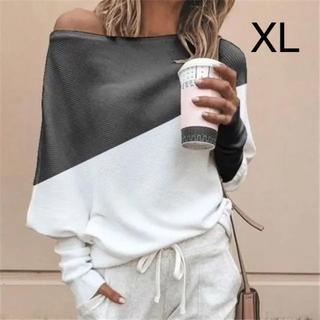 新品☆カラー切り替え♪リブ長 ゆるトップス ブラック XL(カットソー(長袖/七分))