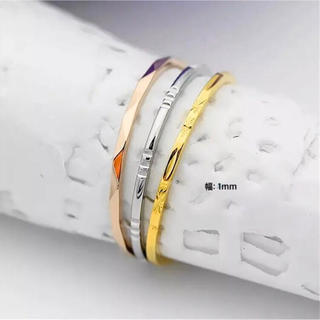 3色 カットリング  ステンレスリング ステンレス指輪 ピンキーリング(リング(指輪))