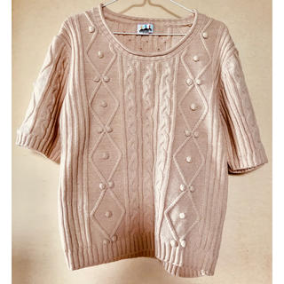 ロデオクラウンズ(RODEO CROWNS)のロデオクラウンズ ペールピンク色半袖セーター  秋冬ざっくりセーター(ニット/セーター)