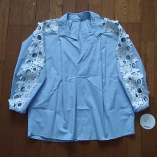 Chesty - chestyチェスティ レーススリーブシャツ 0 ブルー 美品