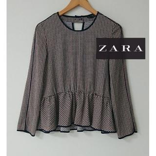 ZARA - ZARA BASIC 千鳥柄ブラウス