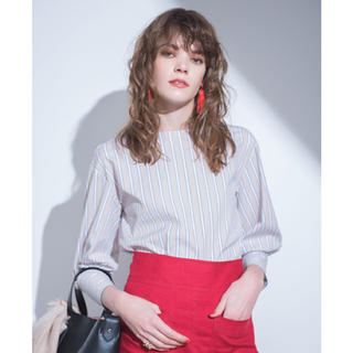 Mila Owen - mila owen ボリュームスリーブストライプシャツ