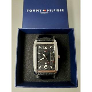 トミーヒルフィガー(TOMMY HILFIGER)のtommy 美品 レクタンギュラー黒革ベルト(腕時計(アナログ))