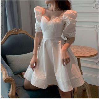 リリーブラウン(Lily Brown)の♡ボリュームショルダーワンピース♡白系韓国ファッション リリーブティック(ひざ丈ワンピース)
