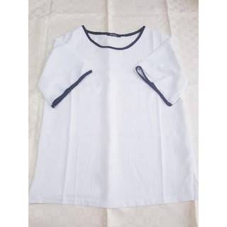レディース◇ブラウス◇トップス◇パイピング◇シンプル◇大きいサイズ◇ホワイト(シャツ/ブラウス(半袖/袖なし))