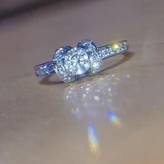 Tiffany & Co. - ティファニー リボン リング pt950 ダイヤ  0.4ct 0.3ct
