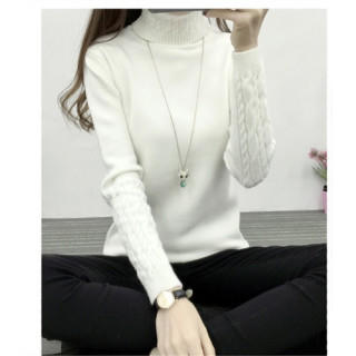 【ホワイト FREE】ニット タートルネック ケーブル編み  ベーシックカラー(ニット/セーター)