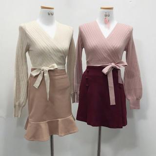 韓国ファッション ニット リボン ベージュ(ニット/セーター)