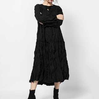 【LONDA】プリーツソリッドドレス(E-142)(ロングワンピース/マキシワンピース)