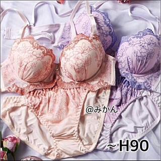 フェミニンな✨♥️繊細フラワー刺繍ブラショーツセット(ブラ&ショーツセット)