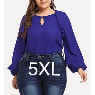 新品未使用)フリルブラウス 5XL ブルー(シャツ/ブラウス(長袖/七分))