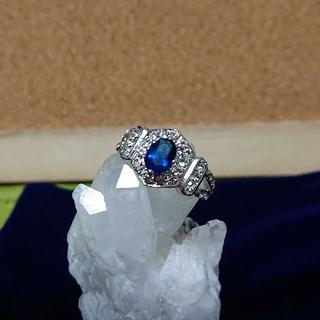 新品!豪華!ブルーサファイアとキュービックジルコニアの指輪(リング(指輪))