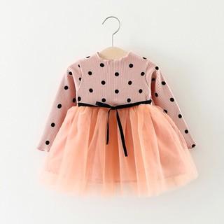 チュール ドレス ワンピース ドット水玉 リボン 90cm ピンク(ワンピース)