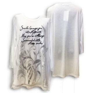 オーガンジー 8分袖 チュニック 異素材切替 Tシャツ 長袖 Aライン M-L(チュニック)