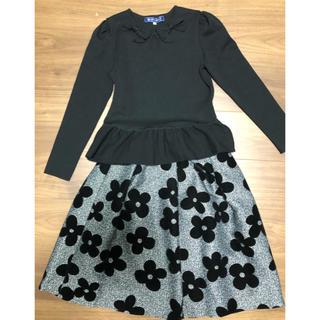 エムズグレイシー(M'S GRACY)のエムズグレーシー 花柄スカート38&リボンカットソー38黒 美品(セット/コーデ)