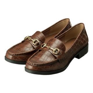 ジーユー(GU)の完売 新品 GU ビットローファー  クロコダイル柄 S ブラウン(ローファー/革靴)
