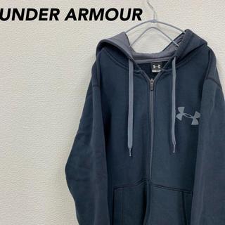 アンダーアーマー(UNDER ARMOUR)のアンダーアーマー ビッグロゴ ジップ パーカー ブラック 裏起毛 MDサイズ(パーカー)