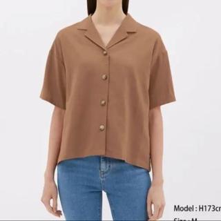 ジーユー(GU)のブラウス GU リネンブレンドオープンカラーシャツ(シャツ/ブラウス(半袖/袖なし))