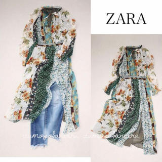 ZARA - ZARA ザラ 秋色フラワープリントロングワンピ