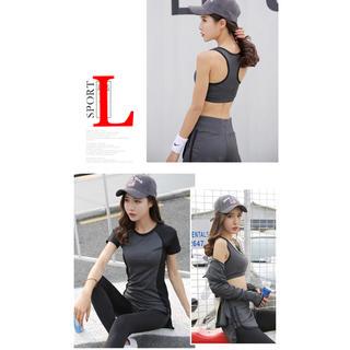 レディーススポーツウェア5点セットヨガウォーキングジムトレーニング運動服Lグレ(ウェア)