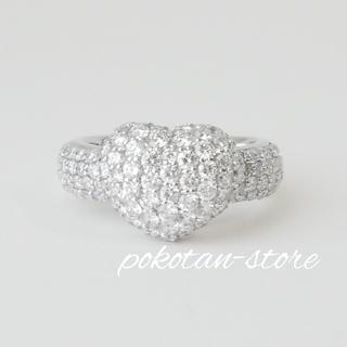極美品【ポンテヴェキオ】K18WG  ハートモチーフ リング ダイヤモンド