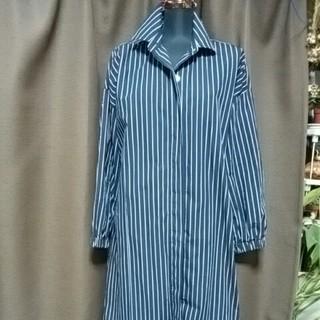 ギャップ(GAP)の美品GAPシャツワンピース コート XS 9号ネイビーにボーダーストライプ綿(ロングワンピース/マキシワンピース)