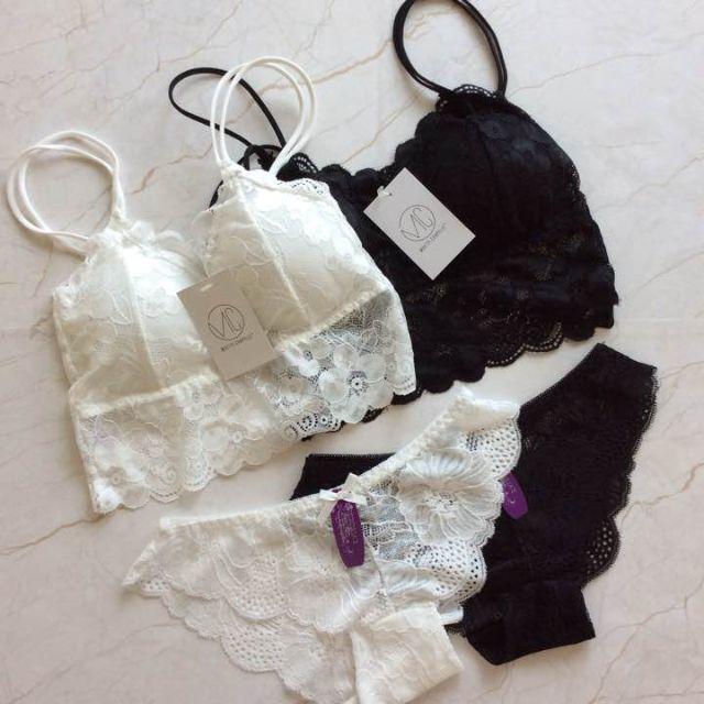 新品 白黒セットで1980円 ブラトップ&ショーツセット レディースの下着/アンダーウェア(ブラ&ショーツセット)の商品写真