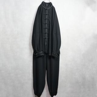 Big size セットアップ チャイナシャツ ブラック