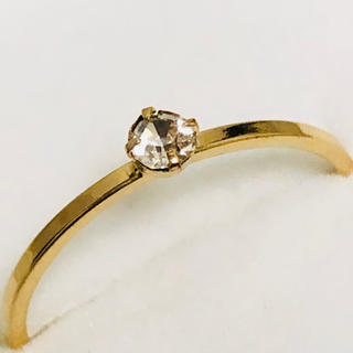 K18 ダイヤ調の石のついたリング(リング(指輪))