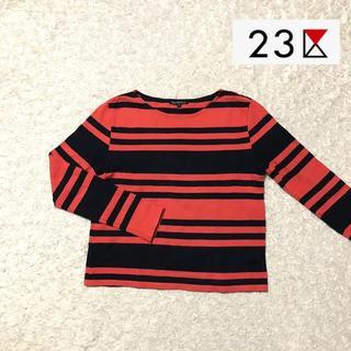 ニジュウサンク(23区)の【23区】オレンジ ボーダー トップス Mサイズ(Tシャツ(長袖/七分))