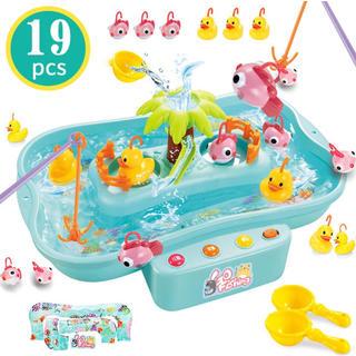 魚釣りゲーム フィッシング 釣りおもちゃ 水遊び 電動 流れる水 プール お風呂
