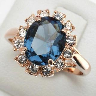 ブルーCZダイヤモンド ピンクゴールド リング(リング(指輪))