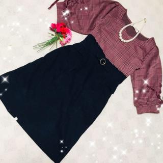 マジェスティックレゴン  チェックカットソー フリルIラインタイトスカート