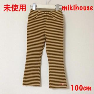 mikihouse - 新品 未使用 ミキハウス 温か パンツ 100 花 刺繍 ズボン ボトムス