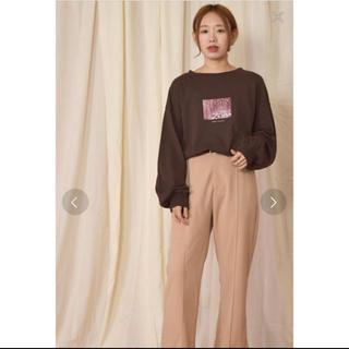 ダブルクローゼット(w closet)のw closet キラキラフォトプリントTee 流行ブラウン(Tシャツ(長袖/七分))