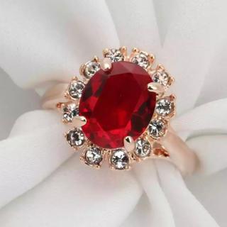 レッドCZダイヤモンド ピンクゴールド リング(リング(指輪))