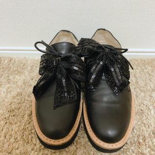 ザラ(ZARA)のzara 厚底 ローファー リボン(ローファー/革靴)