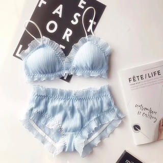Victoria's Secret - フリルシフォンブラ♡インポートランジェリー♡ワイヤレスブラ ナイトブラ ブルー
