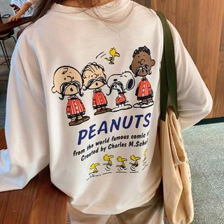 スヌーピー  Tシャツ ペアルック  韓国ファッション 男女兼用 pjgta(Tシャツ(長袖/七分))
