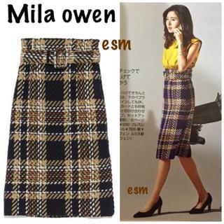 ミラオーウェン(Mila Owen)のMila owen☆ミラオーウェン ☆ベルト付きチェックタイトスカート(ロングスカート)